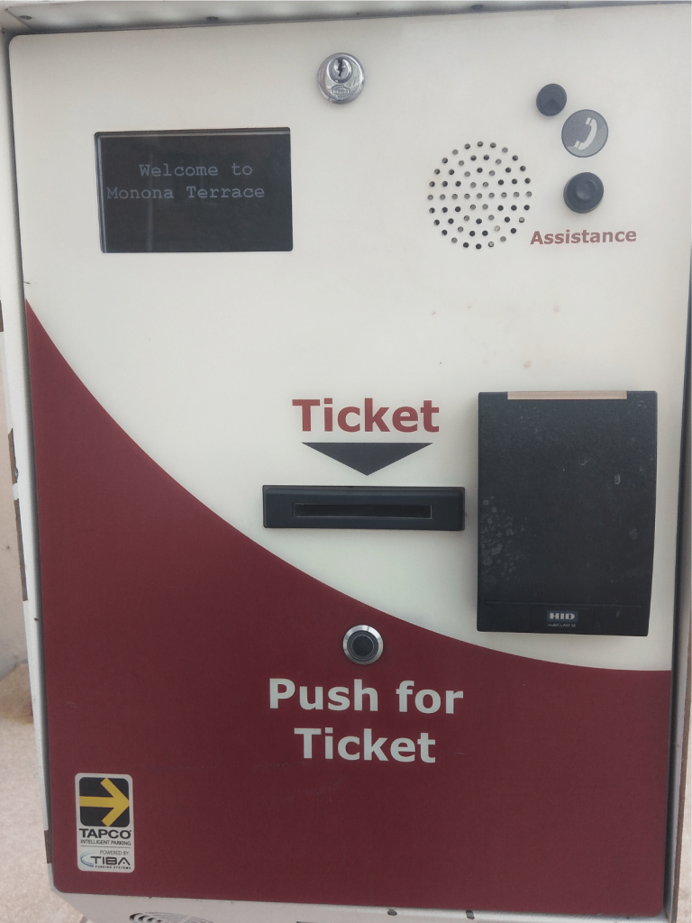 Monona terrace parking ticket machine