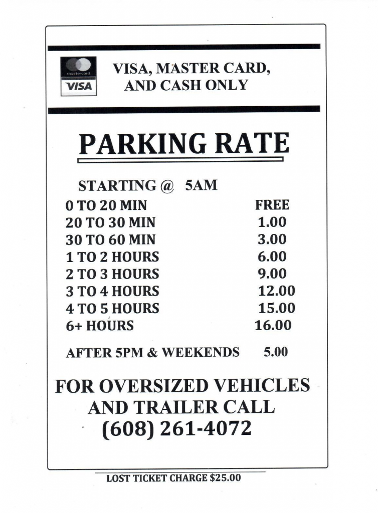 Monona terrace parking rates